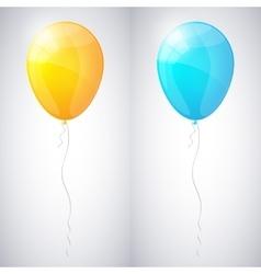 Yellow and blue shiny glossy balloons vector