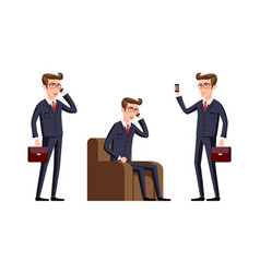 businessman in a office workplace is sitting on a vector image