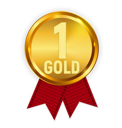 champion gold medal with red ribbon icon sign of vector image vector image