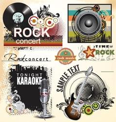 Grunge music banner set vector image