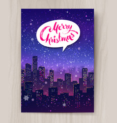 night cityscape christmas postcard design vector image vector image