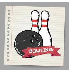 Sketch bowling vector image vector image