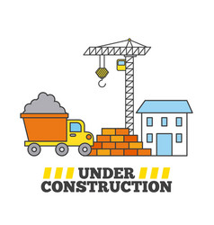 under construction house crane tipper truck and vector image vector image