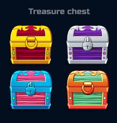 cartoon antique treasure chest in different colors vector image