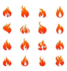 Fire Flat Icon Set vector image vector image