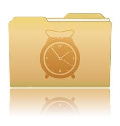 Folder with Alarm Clock vector image vector image