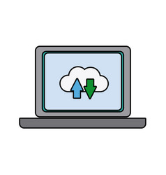 laptop download and upload to cloud icon symbol vector image vector image