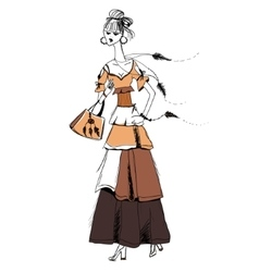 The girl in Gypsy dress Boho style Linear vector image