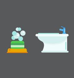 Bath equipment icon toilet bowl bathroom clean vector