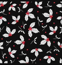 black red white holly berry and mistletoe vector image vector image