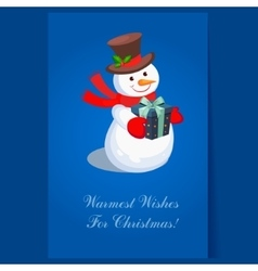 Cheerful snowman holding a present holiday vector