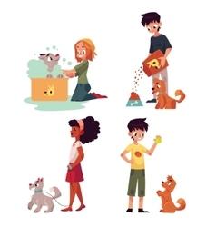Happy kids feeding washing walking a dog vector image