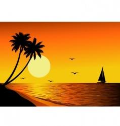 beach sunset vector image