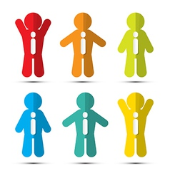 Colorful Paper People Icons with Ties vector image vector image