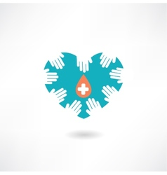 Donor hands holding a heart with a drop icon vector image