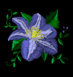 embroidery blue flower angle pattern vector image vector image