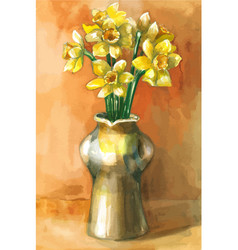 watercolor painting of daffodil flowers in vector image vector image