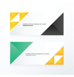 yellow black green triangle banner vector image