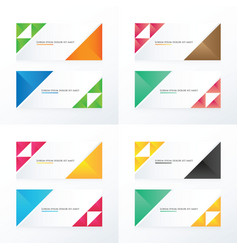 3 color set triangle banner vector