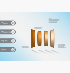 3d infographic template with four deformed vector