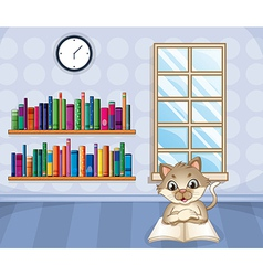 A cat reading a book inside the house vector