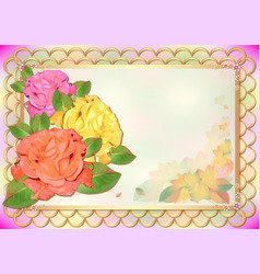 Autumn card with roses in style of scrapbooking vector