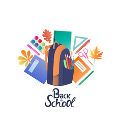 back to school backpack and school supplies vector image