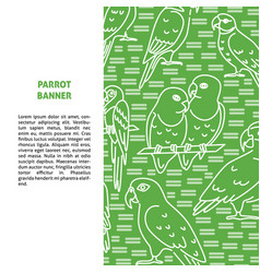 Background with parrot icons in line style and vector