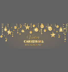 Banner with sparkling christmas glitter ornaments vector