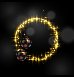 beautiful sparkles frame and hanging balls with vector image