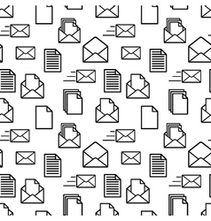 Black icons of documents and envelopes on white vector