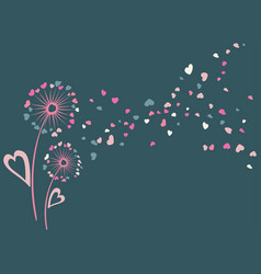 Blue and pink dandelion flowers vector