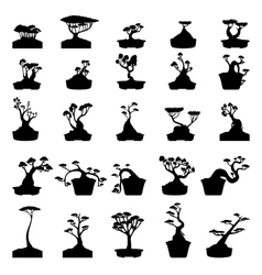 Bonsai trees silhouettes set vector image
