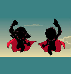 boy and girl flying silhouette vector image