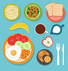 Breakfast eating food and drinks on table top view vector