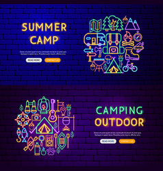 camping neon banners vector image