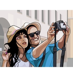 cartoon couple tourists man and woman photographed vector image