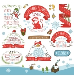 ChristmasNew Year 2016 decorationslabels kit vector image