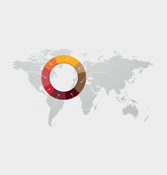 colored pie chart on the world map vector image