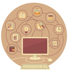 Computer as a Tool for Business in Brown Circle vector