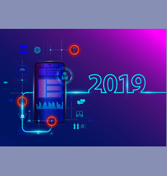 creative 2019 new year with mobile phone vector image
