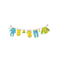 Cute children s garment hanging on rope baby vector