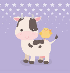 cute cow and chick animals farm characters vector image