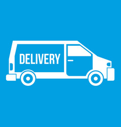 Delivery truck icon white vector