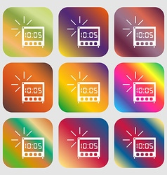 digital Alarm Clock icon sign Nine buttons with vector image