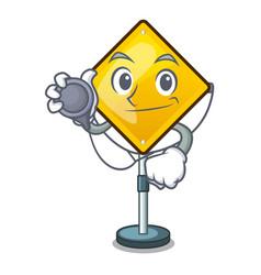 Doctor harm warning sign shaped on cartoon vector