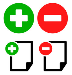 Document icons with add remove buttons symbol set vector