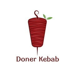 Doner kebab with leaves design template vector
