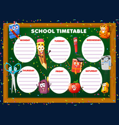 Education timetable schedule with stationery vector