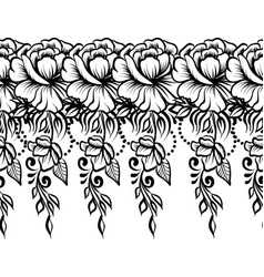 Ethnic indian line art border vector